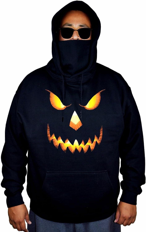 Mens Halloween Pumpkin Head Black Mask Hoodie Sweater Black