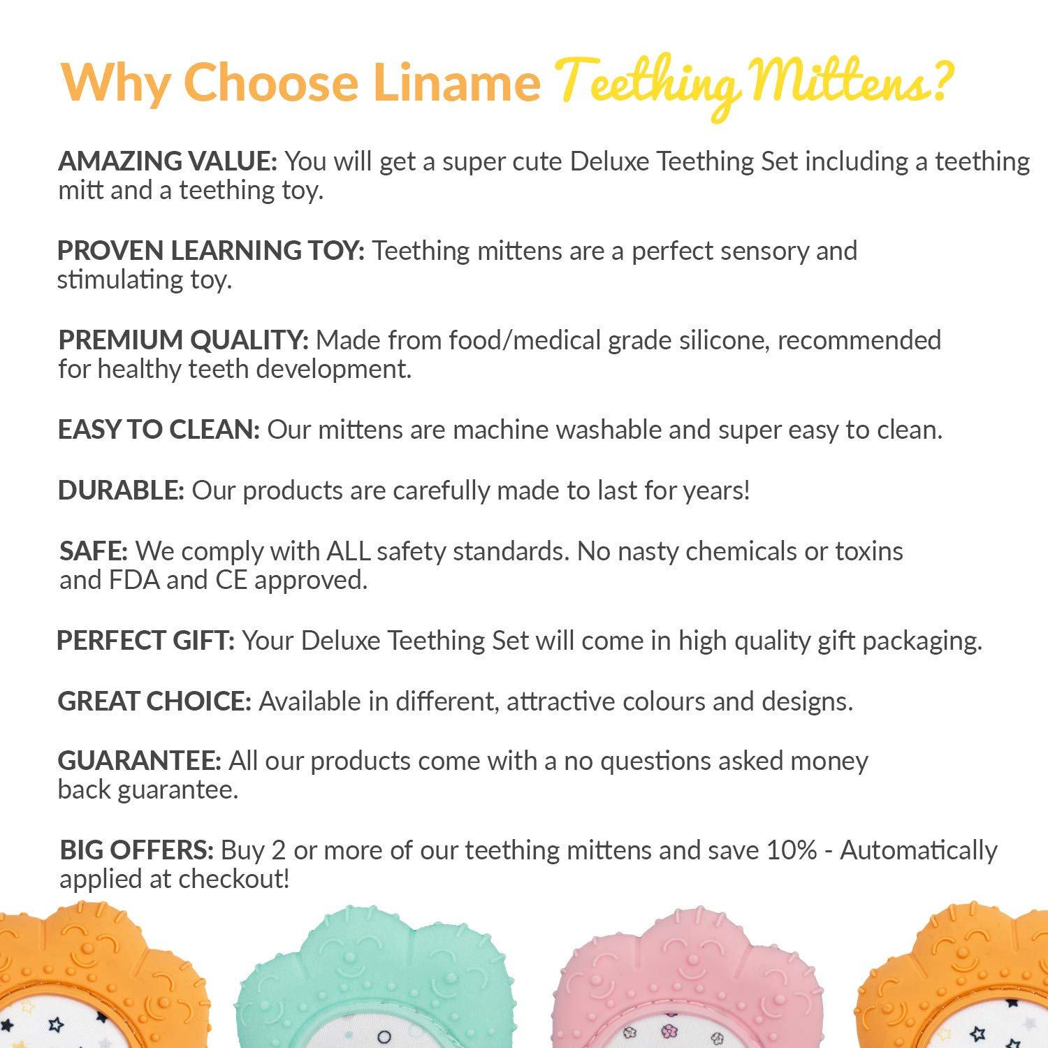 Liname/®️ Deluxe Teething Set Includes Teething Mitten for Babies /& Teething Toy Provides Soothing Relief /& Solves Your Babies Teething Problems Washable Teething Mitt Safe BPA Free
