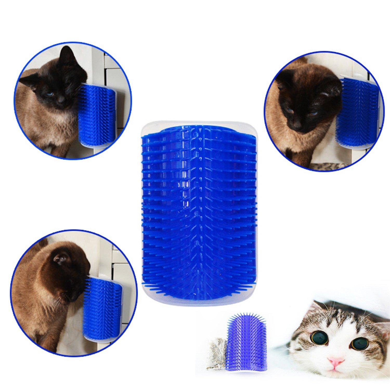 FairytaleMM Útil plástico para Mascotas Gato Gato masajeador Cepillo cómodo rincón Gato Masaje Auto Peluquero Peine Cepillo Accesorios para Mascotas Azul, ...