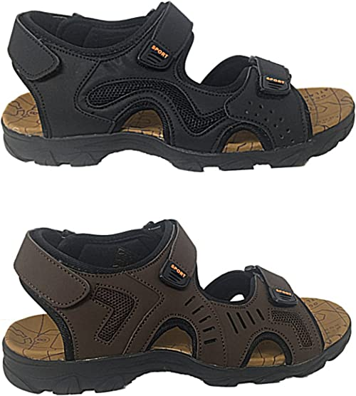 Mens Brown Real Leather Adjustable Touch Fasten Comfort Gladiator Summer Sandals Shoes Size 7-12