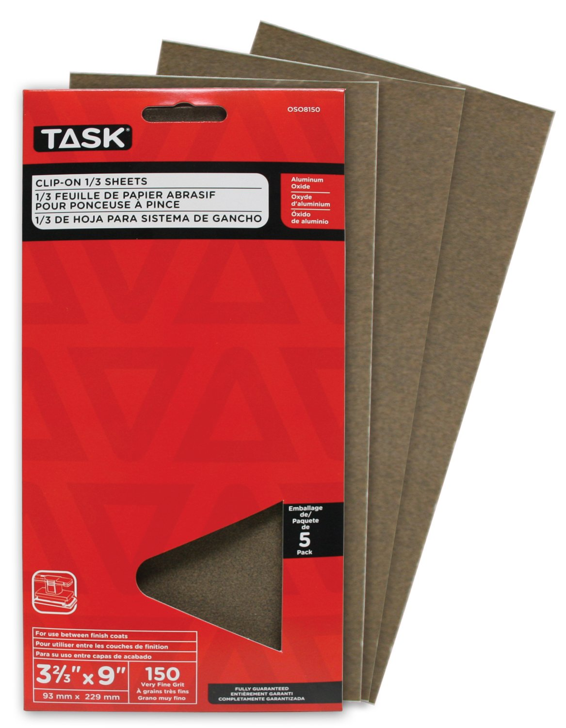 150 Grit Task Tools OSO8150 3-2//3-Inch by 9-Inch Clip-On 1//3-Sheet Sandpaper 5-Pack