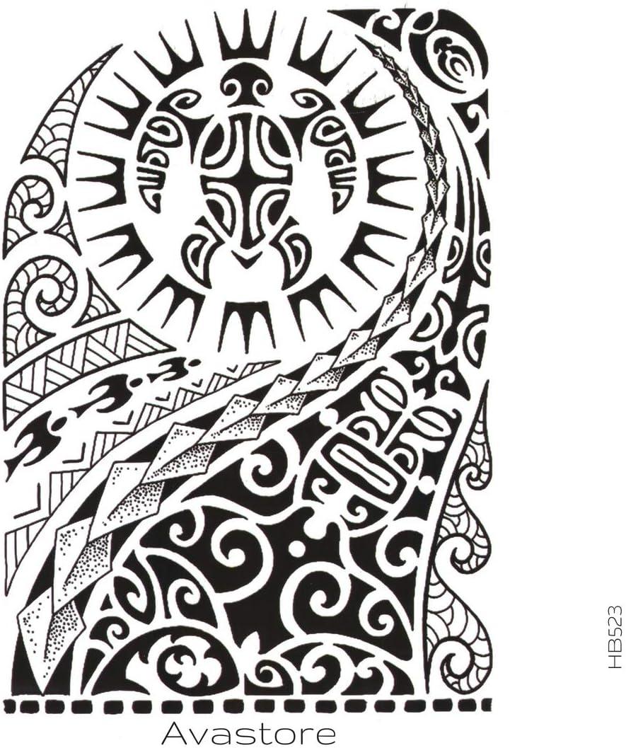 Tatuaje Temporal Maori sol tortuga tatuaje efímero Maori sol ...