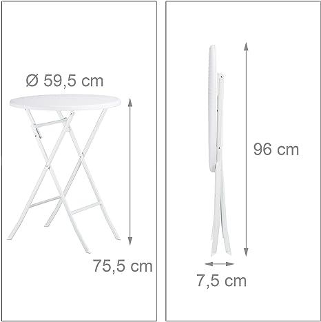 3 Partes Relaxdays Set Muebles de jard/ín Bastian Plegable /óptica rat/án Mesa 75,5 x 60 x 60 cm 75.5 x 60 cm Blanco