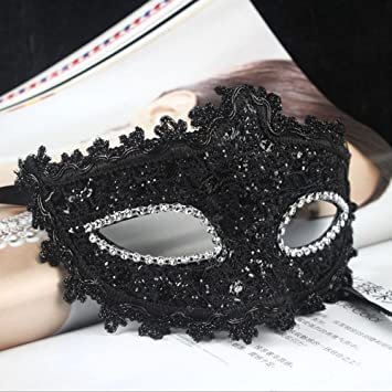 PU Leather Mysterious Black Masquerade Ball Feather Mask Carnival midnight party