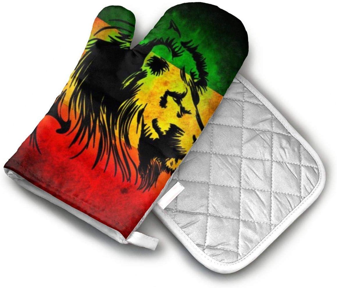 AISDHAJKSD Leones Verde Amarillo Y Rojo Premium Terylene/Nylon Oven Mitts and Pot Mat,Pot Mat/Hot Pads, Heat Resistant Gloves BBQ Kitchen