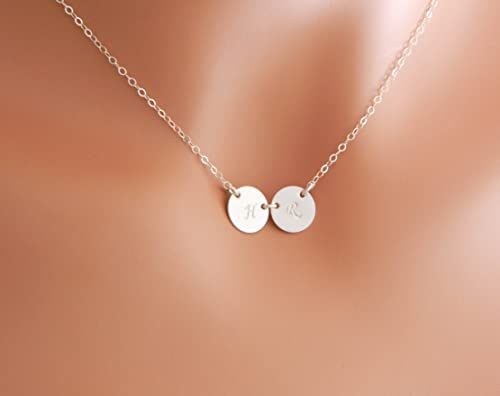 Two disc Personalized Initial necklace  two initial discs  initial necklace  initial pendant  initial pendant necklace