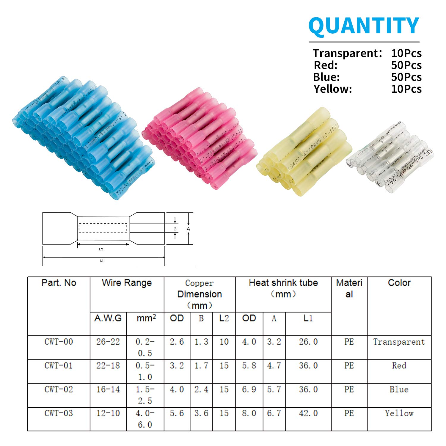 120Pcs Heat Shrink Butt Connectors Waterproof Insulated Butt Splice Terminal for Marine Automotive Boat Motorcycle Truck Trailer Wire Joint Kuject Electrical Crimp Heat Shrink Wire Connector Kit