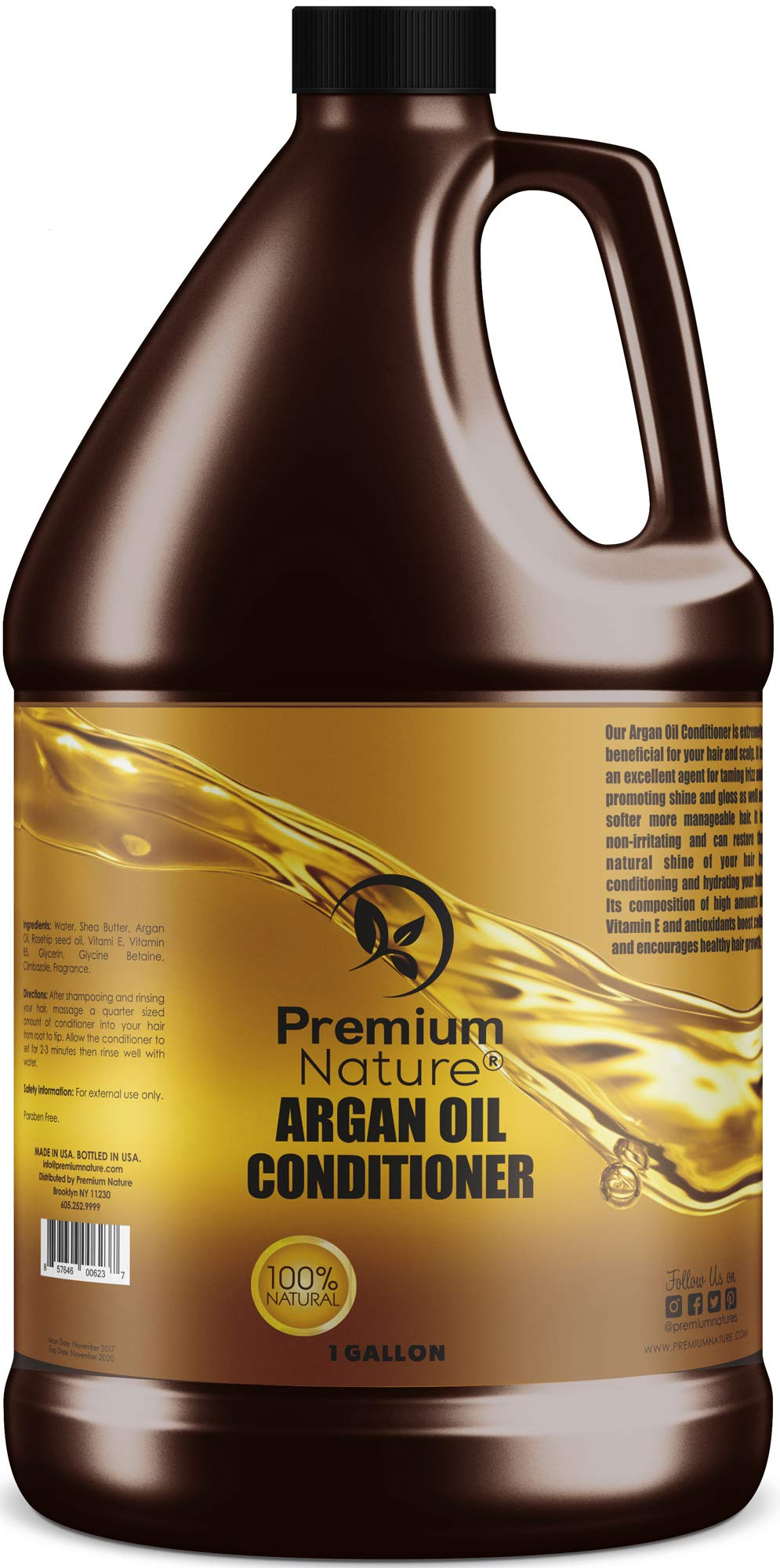Argan Oil Deep Hair Conditioner - Sulfate Free Natural Moisturizer Hair Growth, Leave In Hair Mask Conditioning Hair Loss Dry Scalp Treatment Damaged Repair Gentle Colored Hair 1 Gallon Bulk by Premium Nature