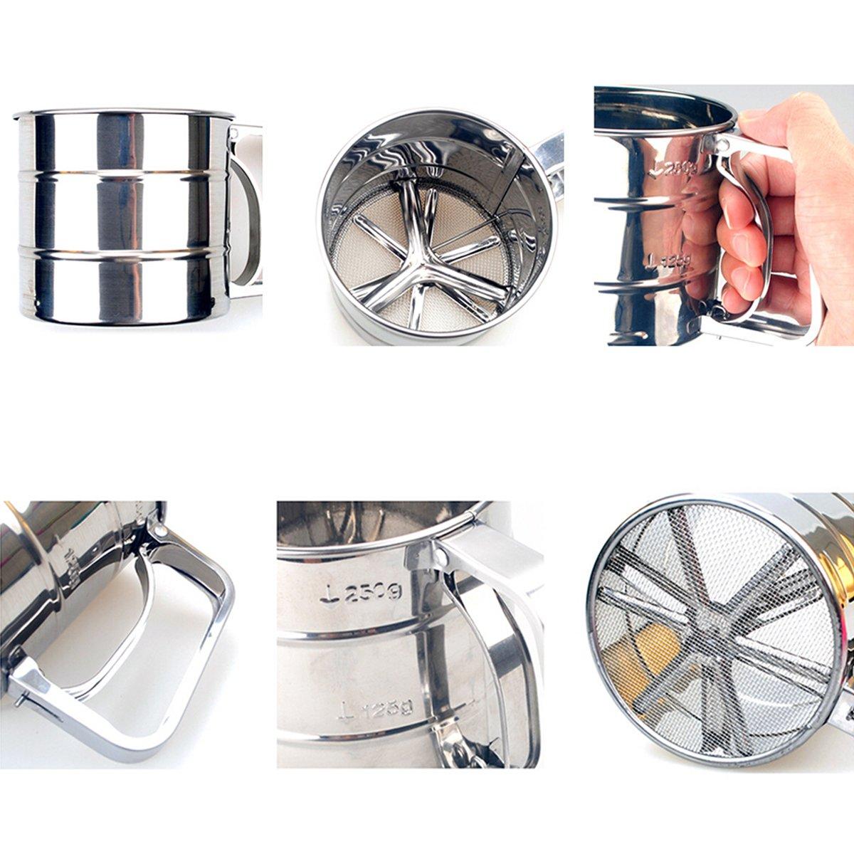 ounona setaccio per farina in acciaio inox con una sola mano Zucchero a velo sieber accessori per la cucina