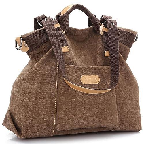 Z-joyee Women Shoulder bags Casual Vintage Hobo Canvas Handbags Top Handle Tote Crossbody Shopping B...