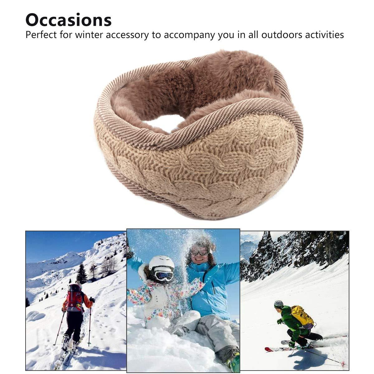 Metog Unisex Foldable Ear Warmers Polar kints Winter EarMuffs (khaki, One size) by Metog (Image #7)