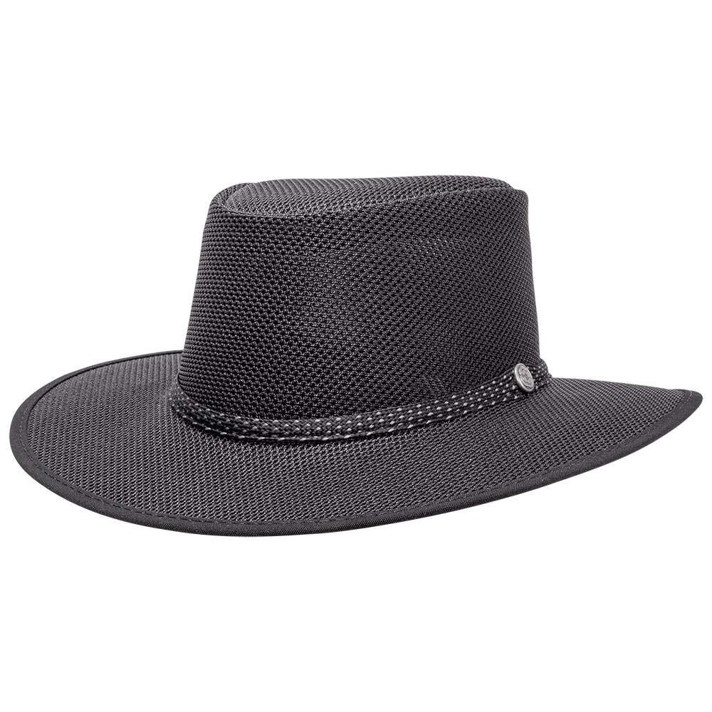 SOLAIR HATS Cabana by American Hat Makers Mesh Leather Hat, Black - X-Large