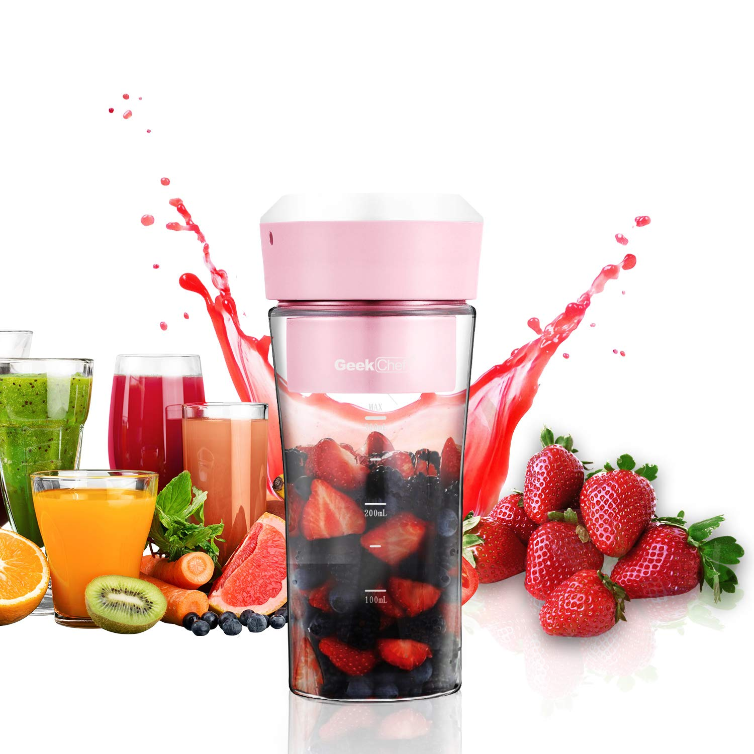 Portable Blender, Geek Chef USB Fruit Juicer Mini Personal Blender Small Blender, Shake and Smoothie Rechargeable Mixer Waterproof Juicer Cup, Mixing Machine BPA Free PB-P01