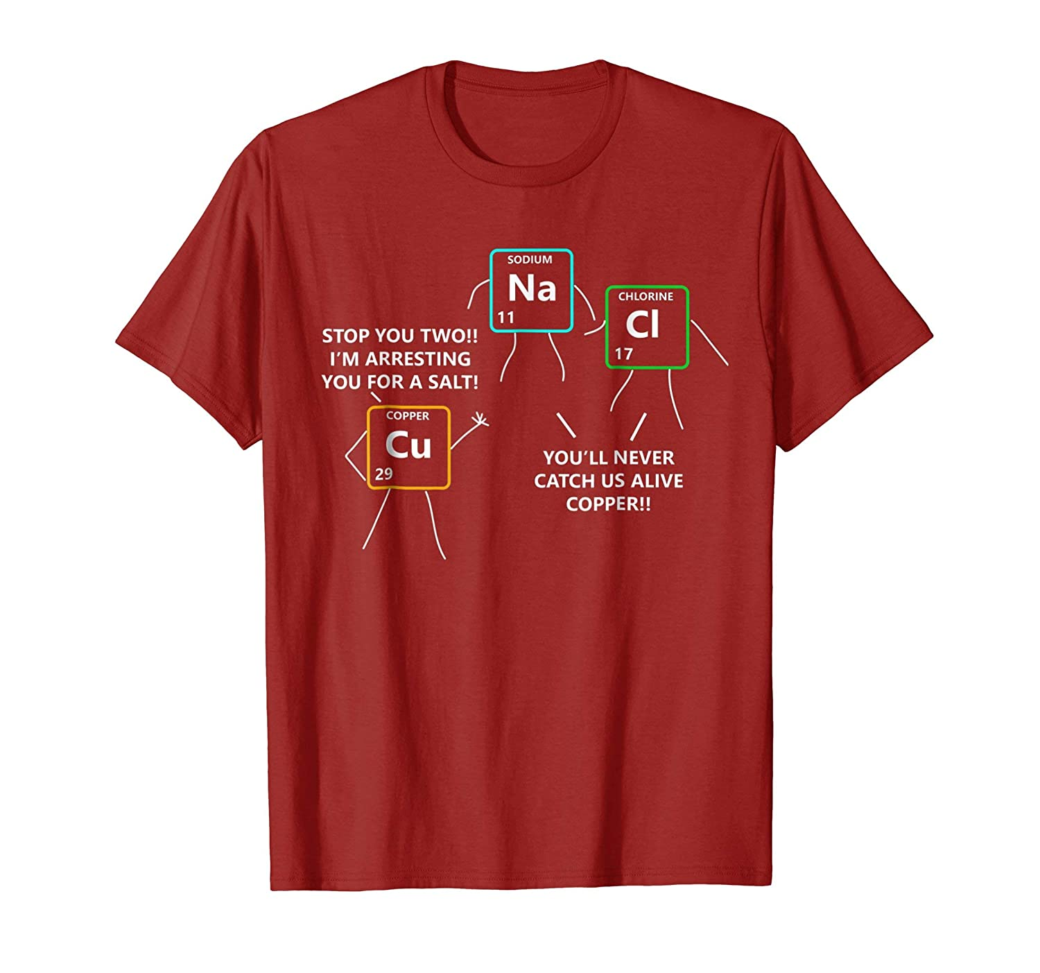 Salt And Copper Periodic Table Police Pun Chemistry T Shirt Colonhue