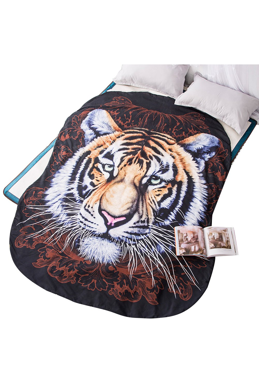 Getime 3D Animal Prints Blanket Bedding Tiger Shaped Summer Quilt Comforter Washable Light Quilt