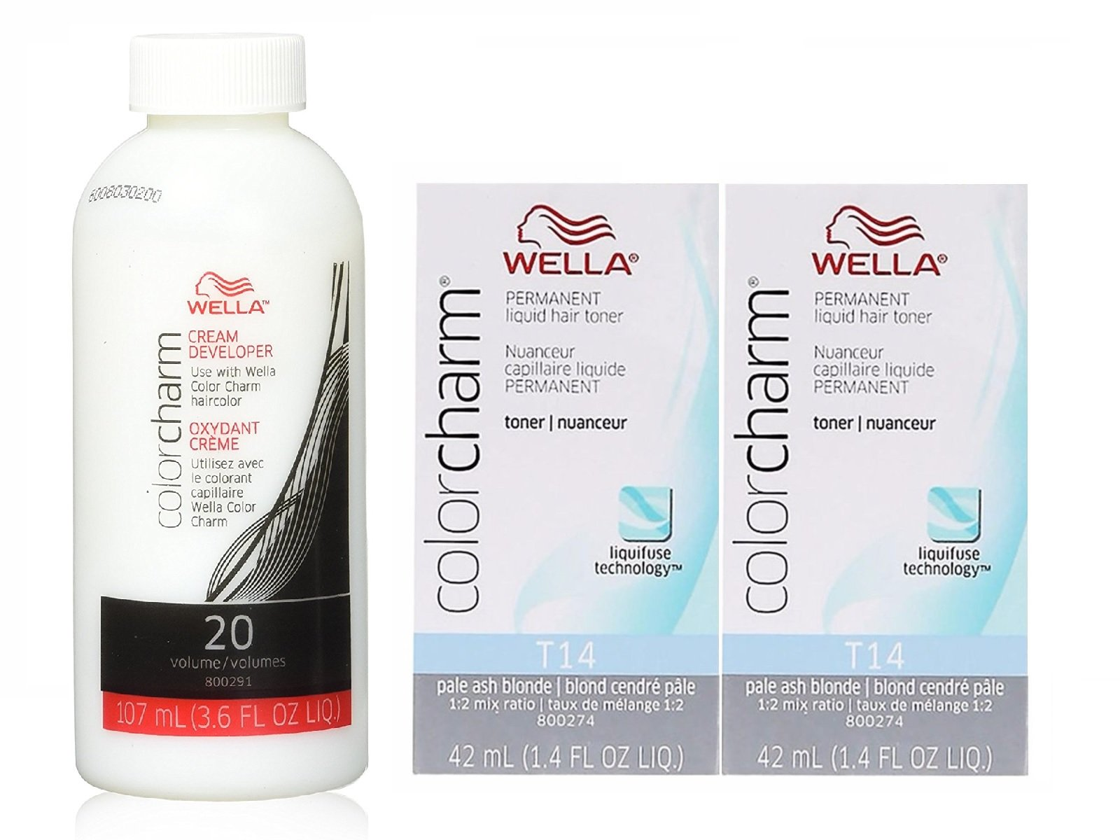 Wella Color Charm T14 Pale Ash Blonde 2-Pack with CC Cream 20 Developer 3.6 oz. - COMBO DEAL!