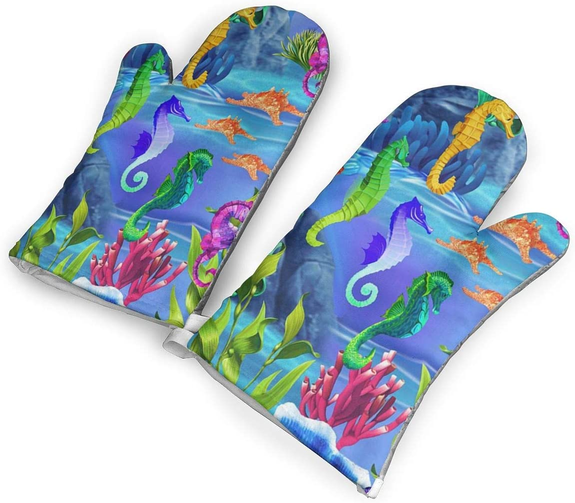 Feederm Sea Life Seahorses Oven Mitts,Professional Heat Resistant Microwave Oven Insulation Thickening Gloves Baking Pot Mittens Soft Inner Lining Kitchen Cooking
