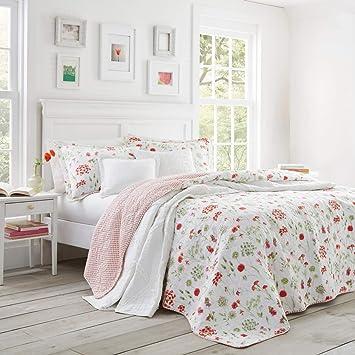 3 Pieces Rouge Vert Fleur Parure De Lit King Size Blanc Rose Motif