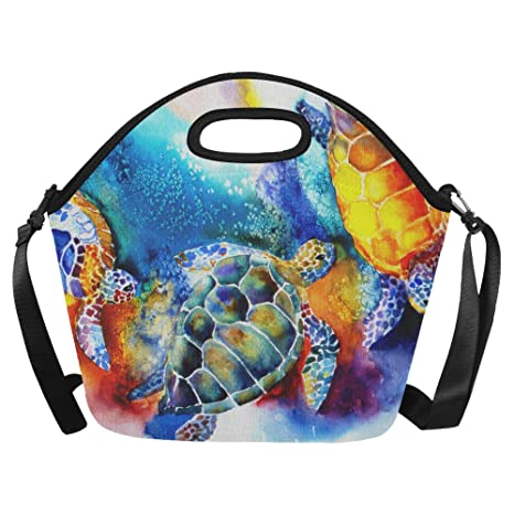 """881ceef008 InterestPrint Sea Turtles Watercolor Painting Large Reusable Insulated  Neoprene Lunch Tote Bag Cooler 15.04"""" x"""