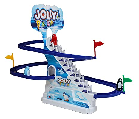 Penguin's Race Track Game - Playful and Educational Penguin Slide Race Set  with cheerful music.