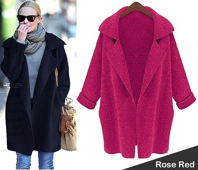 Finejo mujer dama invierno cálido Kint Jersey de punto para mujer suelto largo abrigo Rojo Rosa Roja Talla única: Amazon.es: Ropa y accesorios