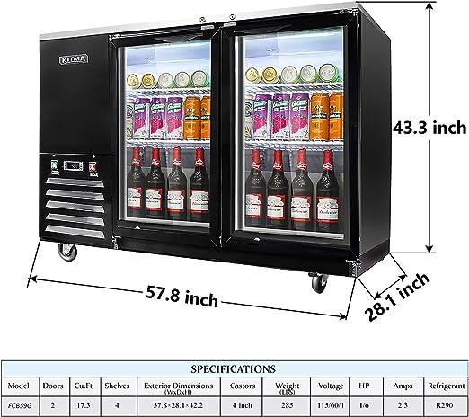 KITMA refrigerador de bebidas con 2 puertas de cristal de 59 ...