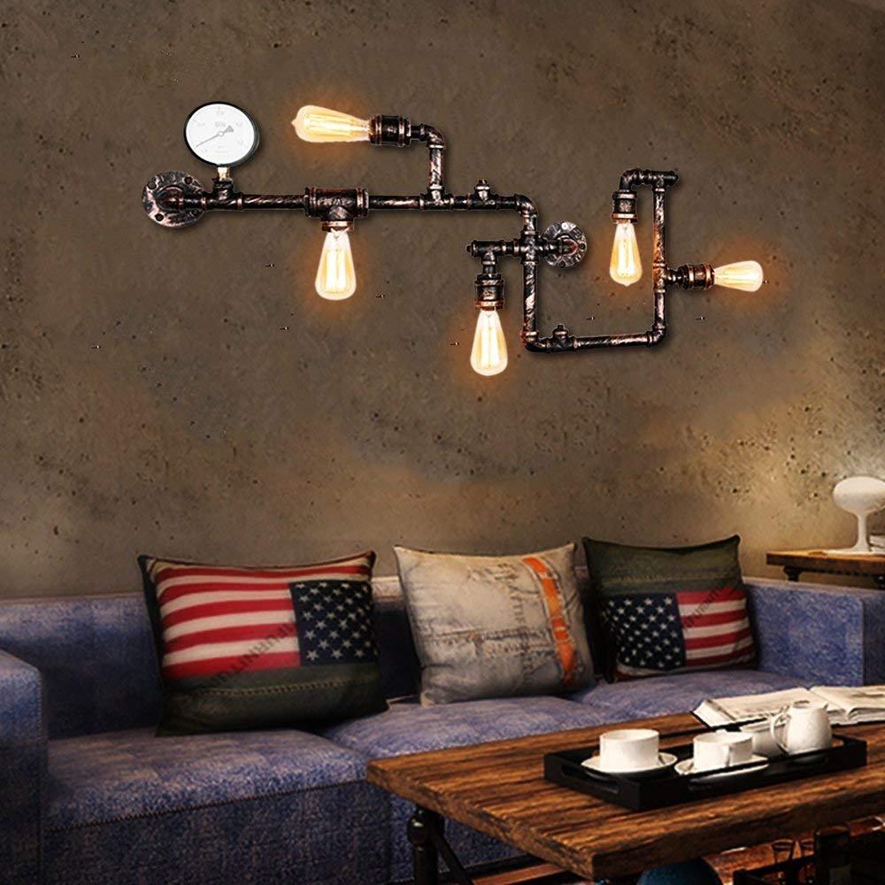 Industrial Wandleuchte OYI Vintage Wasserrohr Wandleuchte Steampunk Lampe 5 E27 Lampenfassung Dekorative Gauge Kupfer Finish [Energieklasse A++] OYI lighting