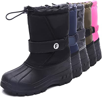 TOP Fighting Kids Winter Snow Boots Toddlers Waterproof Outdoor Warm Faux Fur Lined Shoes Boy Girl