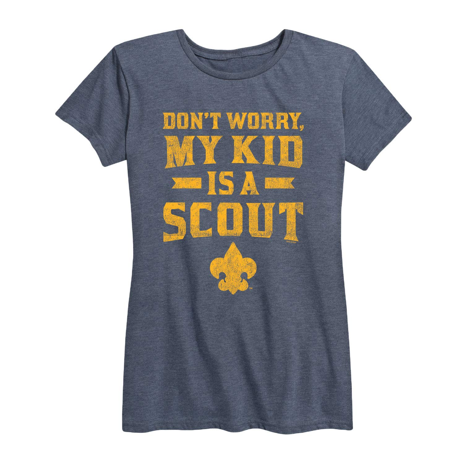 Boy Scouts of America My Kid A Scout - Ladies Short Sleeve Classic Fit Tee Heather Blue by Instant Message