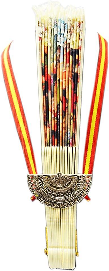 ALBERO Cuelga Abanico de metal + Abanico. Con cinta con los colores de la Bandera de España: Amazon.es: Ropa y accesorios