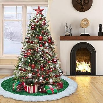 Weihnachtsbaum Dekorieren.Yistyle Weihnachtsbaum Röcke Weihnachtsbaumdecke Weihnachtsbaum Deko Mit 6 Stück Schneeflocke Für Weihnachten Urlaub Party Dekoration 90cm