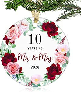 "10 Years As Mr. & Mrs. Christmas Ornament 2020 - Christmas Ornament Gift for Ten 10 years Couple Husband & Wife Married - Holiday Decoration Gift for 10th Wedding Anniversary - 3"" Ornament(10 Years)"
