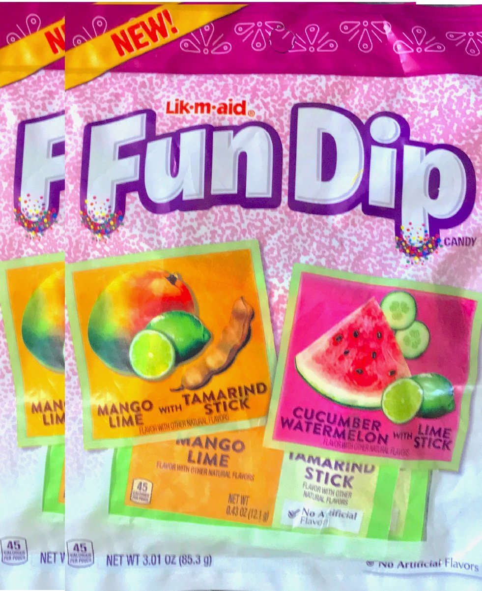 Fun Dip Candy Mango Lime With Tamarindo Stick/Cucumber watermelon With Lime Stick Net Wt 3.01 Oz (2)