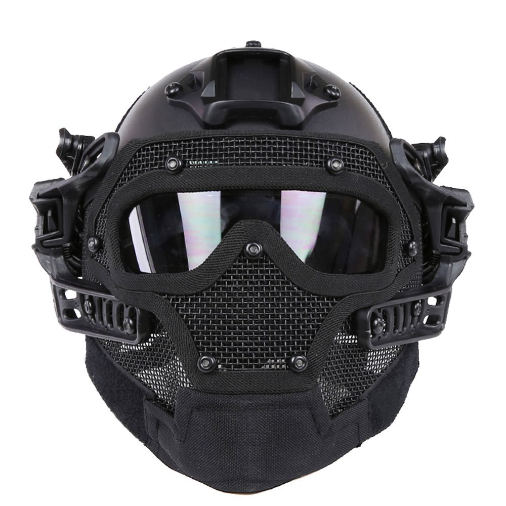 HYOUT Fast Tactical Helmet Combined with Full Mask and Goggles for Airsoft Paintball CS (BK) by HYOUT