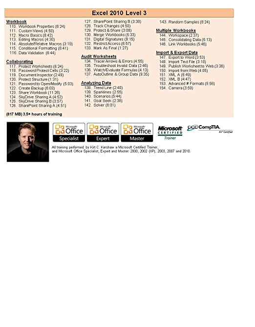 Amazon.com: Excel 2010 Training Videos - 14 Hours of Excel 2010 ...