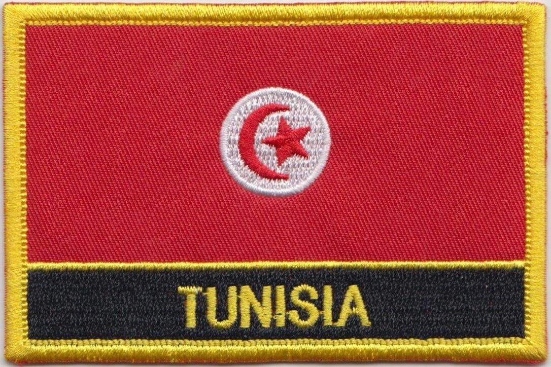 Bandiera della Tunisia rettangolare ricamato Patch Badge/cucire o ferro On - Design esclusivo da 1000 Flags