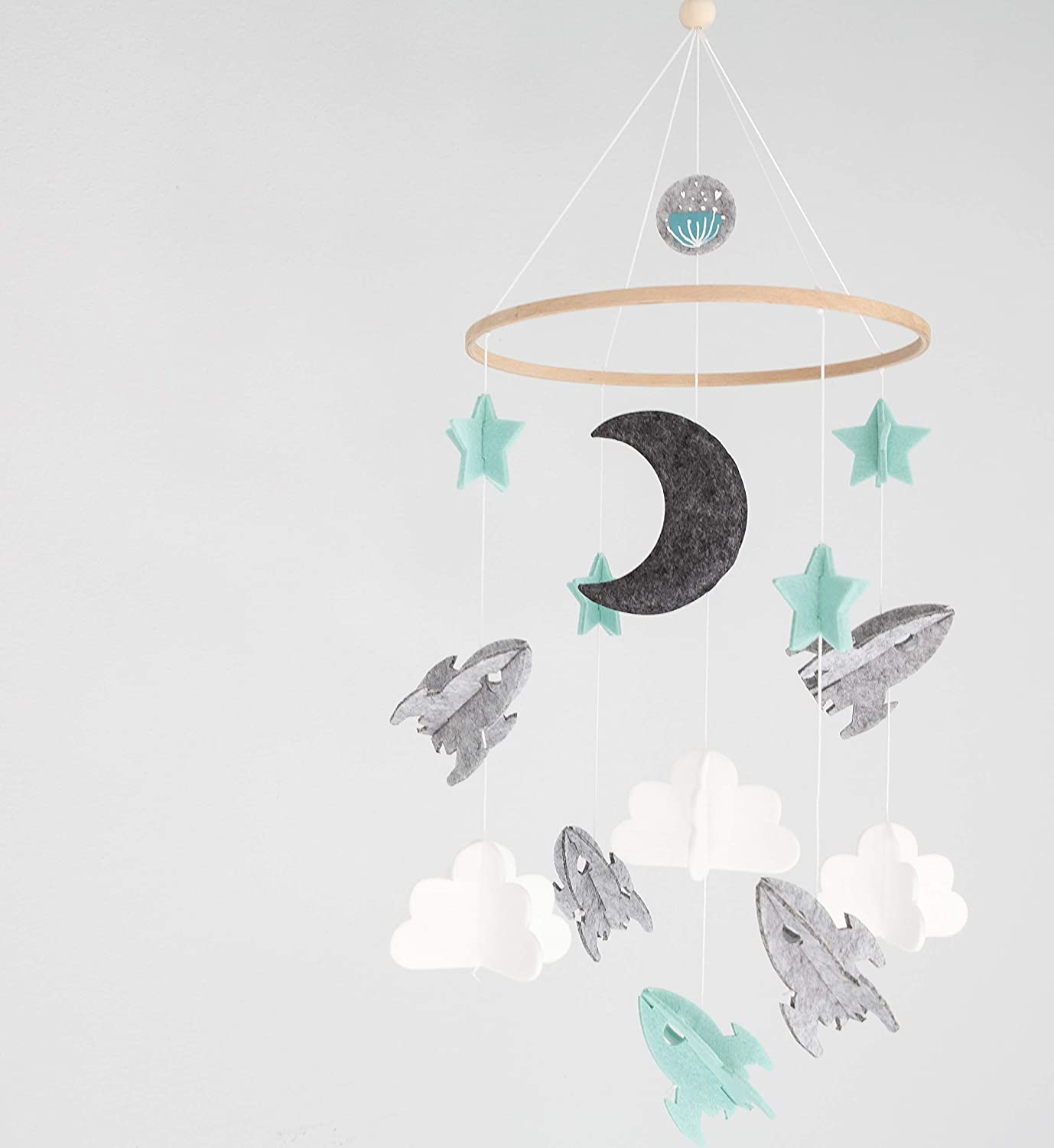 Modern Unisex Wool Woodland Star Moon Cloud Airplane Space Baby Crib Mobile for Boys and Girls Baby Shower Gift Set Nursery Decor Infant Room Hanging Decoration Toy Newborn Registry