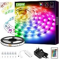 Lepro led strip 5m met Muziek, kleur veranderende ledstrip met IR afstandsbediening, muziekmodus led lights strip RGB…