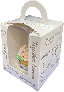Okura Magic Home Silver Wedding Cupcake Boxes, Pack of 25 Individual cake boxes, Colorful Custom Designs, Easy Assemble Pop-up Base, Suitable for Wedding Take Home Gifts and Bridal Shower Favor Boxes
