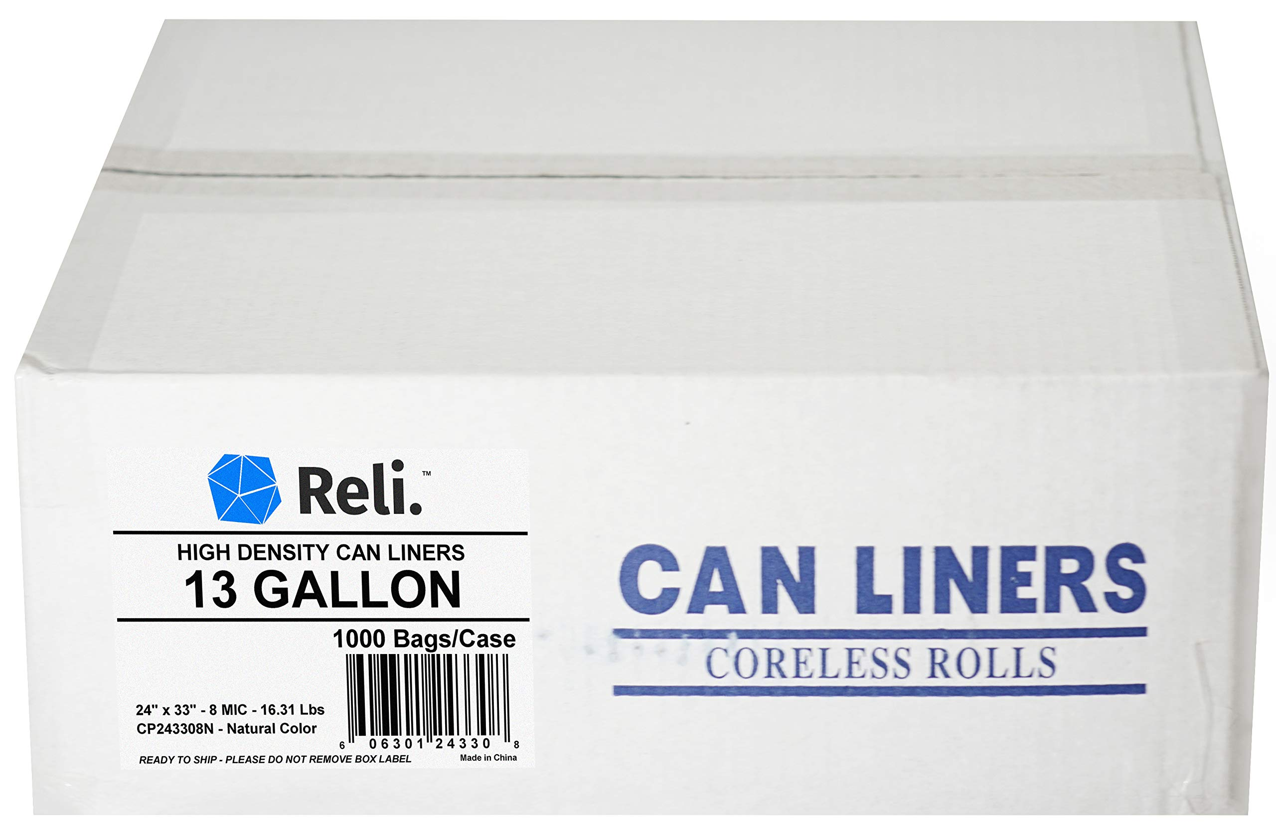 Reli. 13 Gallon Trash Bags (1000 Count Bulk) Clear Trash Bags 13 Gallon in Bulk - Reycling Clear Can Liners 13 Gallon - 16 Gallon Tall Kitchen Strength (13 Gal)