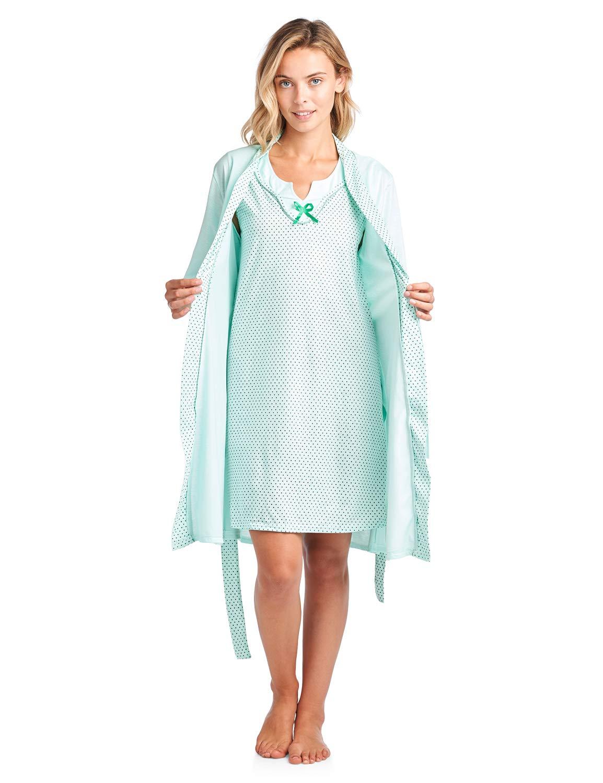 Casual Nights Women's Sleepwear 2 Piece Nightgown and Robe Set - Green - Medium