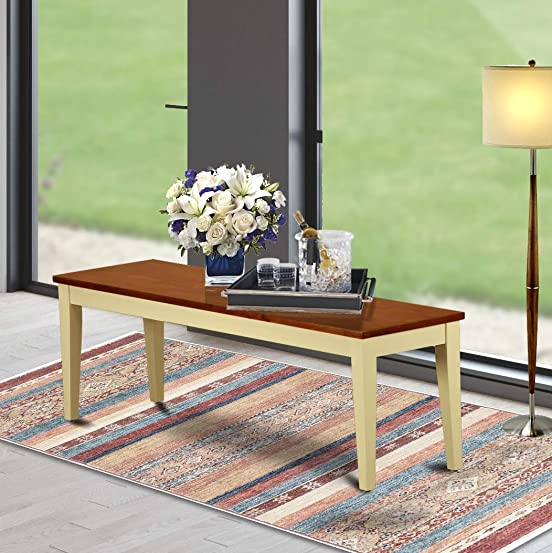 Nicoli Dining Bench with Wood Seat in Buttermilk and Cherry Finish