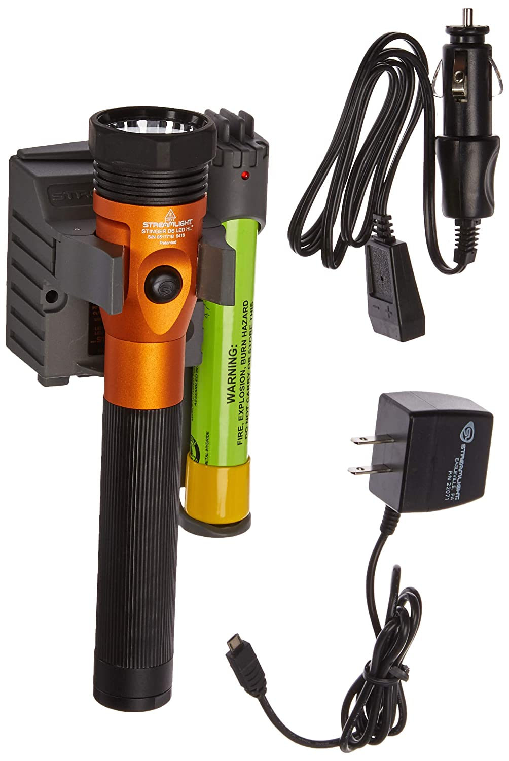 Streamlight 75490 Orange Ds Stinger Led Hl Ac-Dc With Piggyback Charger 640 Lum B00EA1XCR8