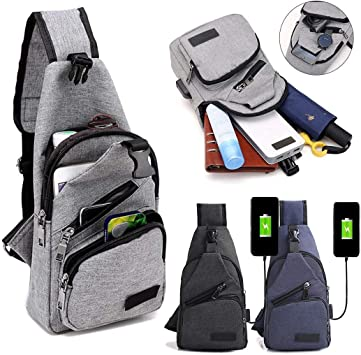 Vershine Mens Canvas USB Rechargeable Chest Bag Small Backpack Messenger Bags