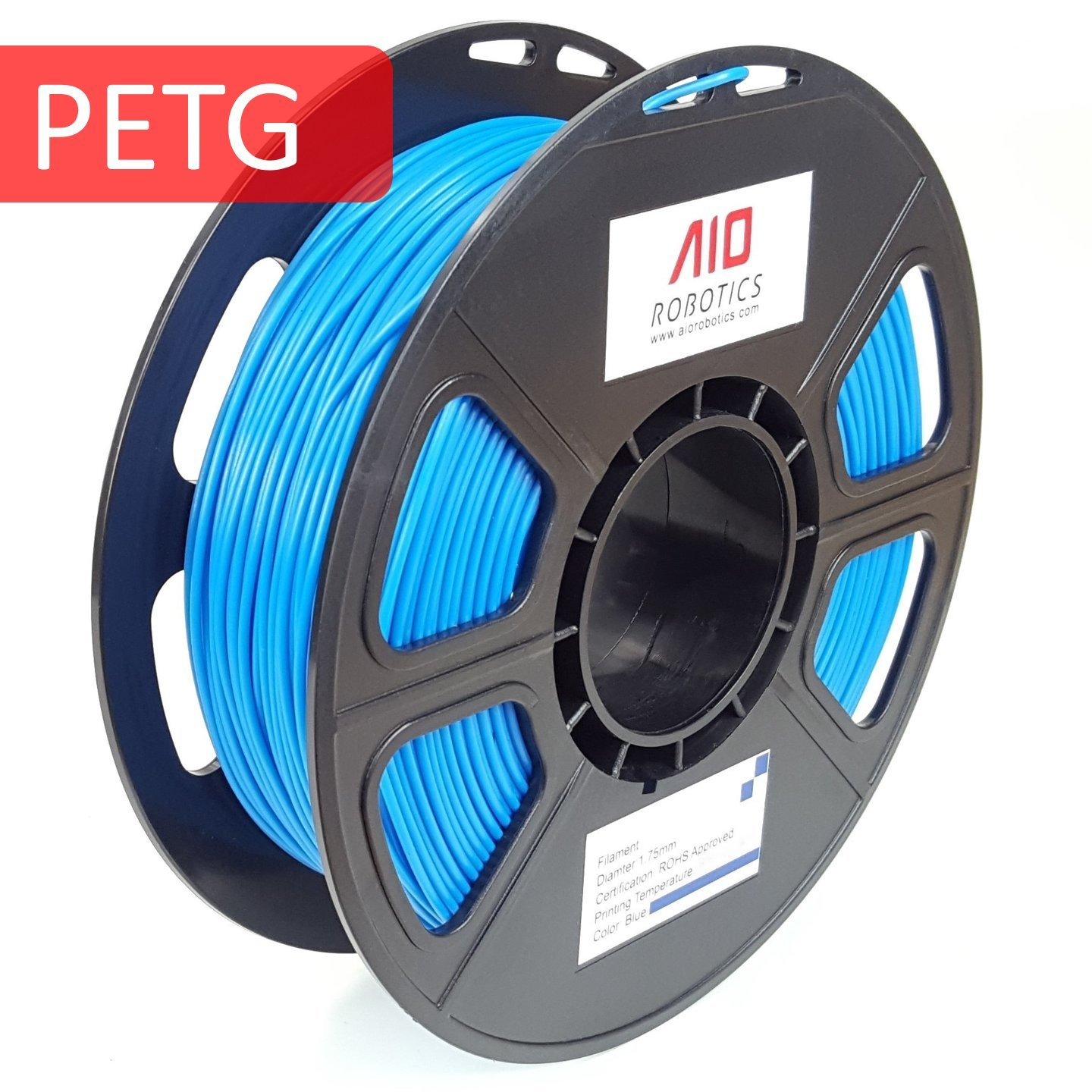 Solid Blue 1.75 mm Dimensional Accuracy +//- 0.02 mm 0.5 kg Spool AIO Robotics AIOBLUE PETG 3D Printer Filament
