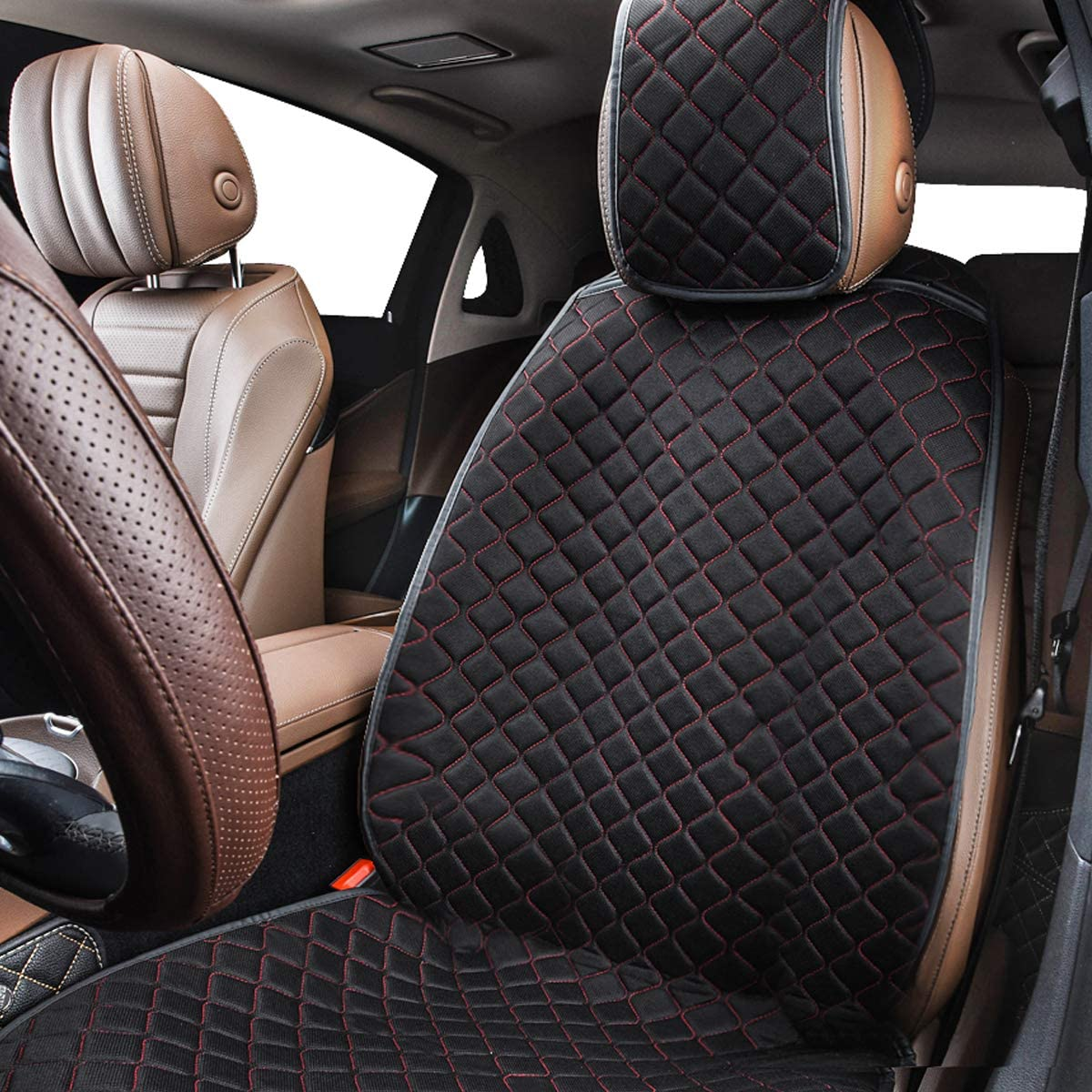 Black with red CAR PASS Universal Four Season Mat Car Seat Cushion Cover 1PC Black with Red for Car Truck SUV