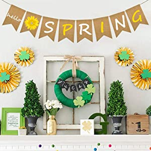 Stology Hello Spring Banner Rustic Burlap Yellow Daisy Flower Garland Banner Sign for Mantel Fireplace, Home Office Classroom Wall Decors Seasonal Outdoor Indoor Decorations