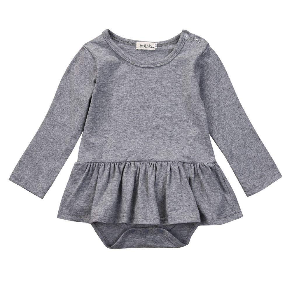 Infant Toddler Baby Girl Top Basic Plain Ruffle T-Shirt Blouse Casual Clothes (9-12 Months, White 1)