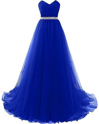 CoutureBridal® Damen Kleid Lang A-Linie Abendkleider Abschlussball  Ballkleid Brautjungferkleid Prinzessin Tüll Blau Saphir
