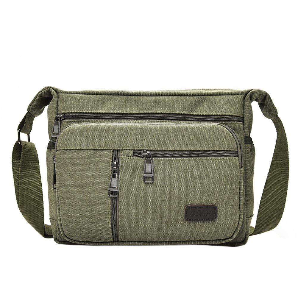 2fb9e85f636 Amazon.com  EasyHui Canvas Shoulder Messenger Bag Small Crossbody Travel  Purse for Mens Womens Multi-layer Leisure Bag Army Green  Sports   Outdoors